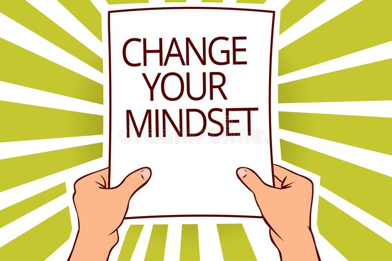 Text sign showing Change Your Mindset. Conceptual photo replace your beliefs way of thinking mental path Paper page capital report. Ing cardboards placards royalty free illustration