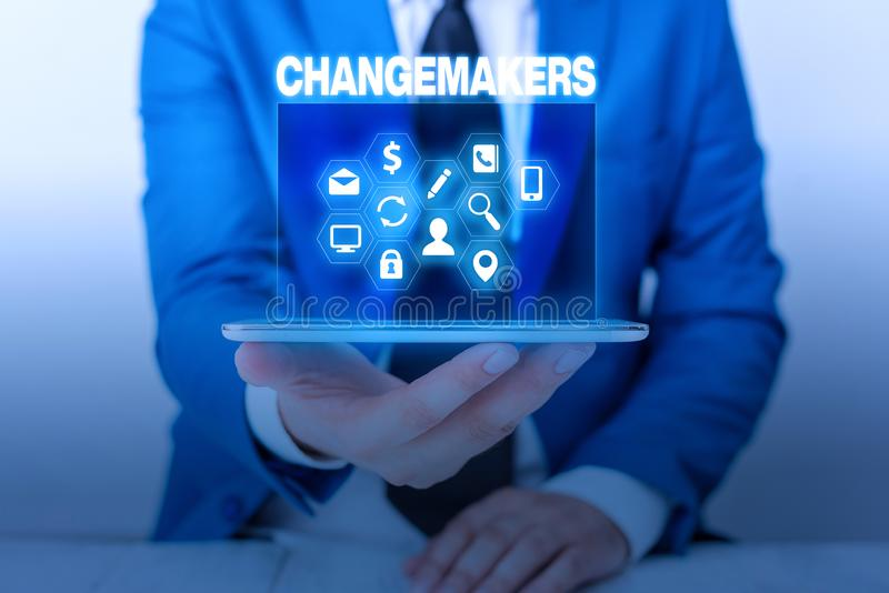Text sign showing Changemakers. Conceptual photo Young Turk Influencers Acitivists Urbanization Fashion Gen X. Text sign showing Changemakers. Business photo royalty free stock photos