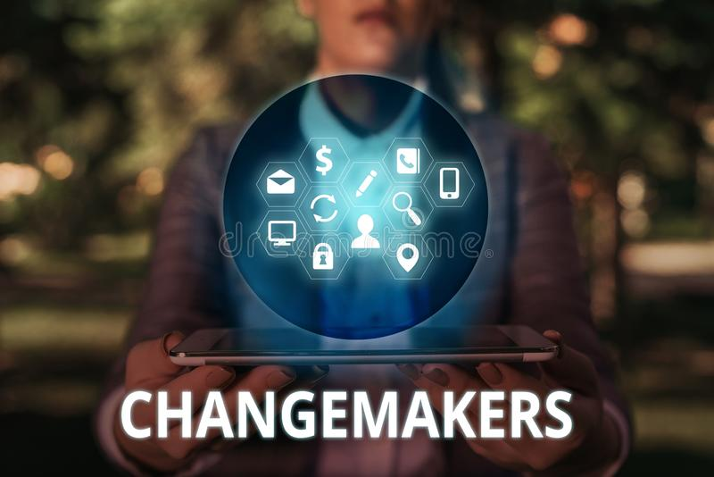 Text sign showing Changemakers. Conceptual photo Young Turk Influencers Acitivists Urbanization Fashion Gen X. Text sign showing Changemakers. Business photo stock photo