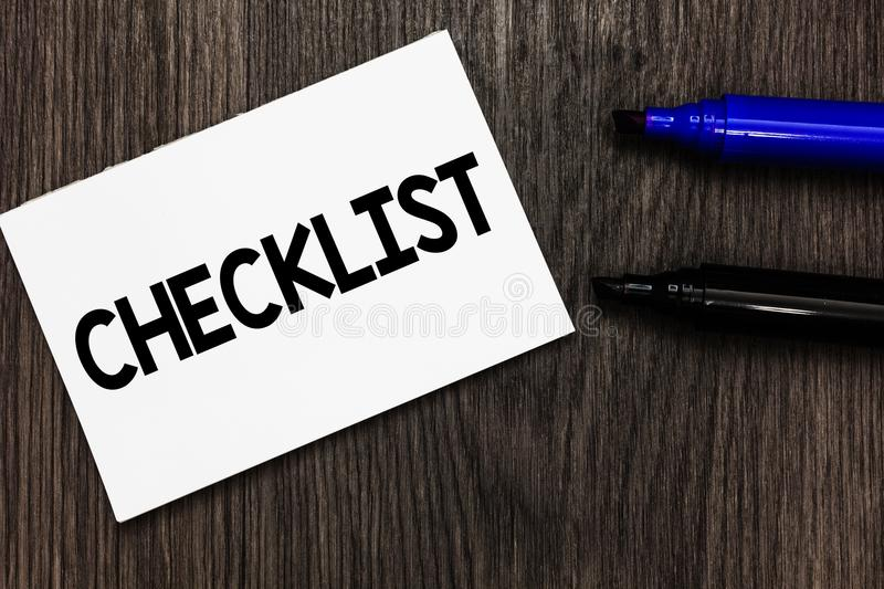 Text sign showing Checklist. Conceptual photo List down of the detailed activity as guide of doing something Important idea ideas. Notebook marker markers royalty free stock photos