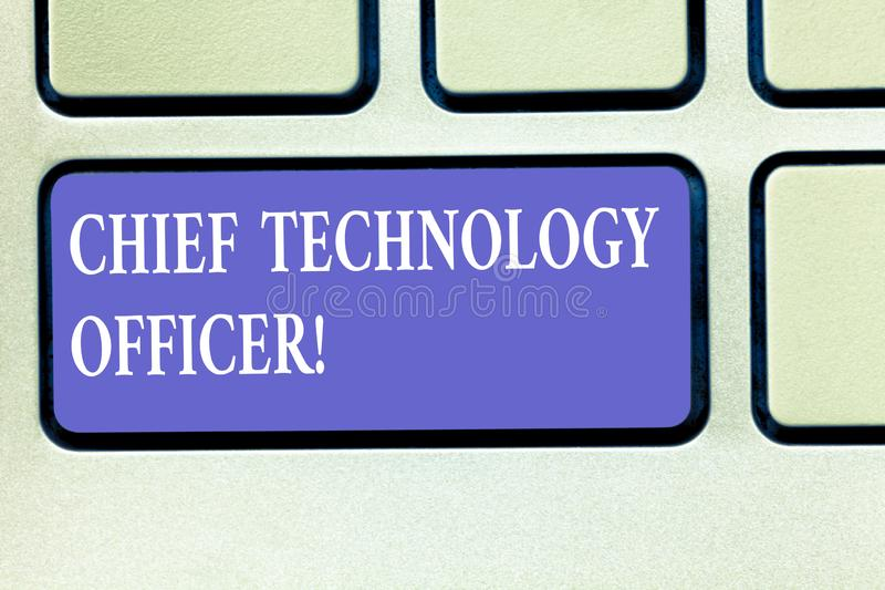 Text sign showing Chief Technology Officer. Conceptual photo focused on scientific and technological issues Keyboard key Intention stock illustration