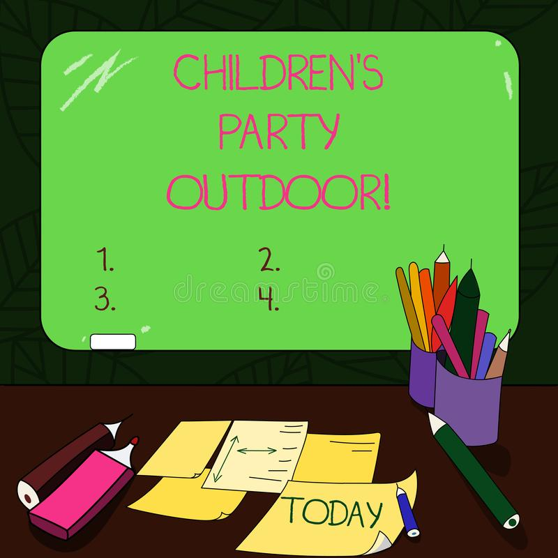 Text sign showing Children S Is Party Outdoor. Conceptual photo Kids festivity held outside the house Mounted Blank Color. Blackboard with Chalk and Writing stock photo