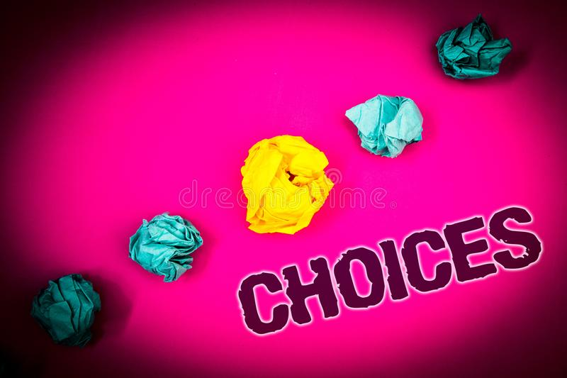 Text sign showing Choices. Conceptual photo Preference Discretion Inclination Distinguish Options Selection Ideas concept pink bac. Kground crumpled papers stock photo