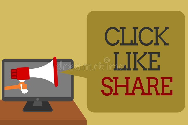 Text sign showing Click Like Share. Conceptual photo Internet sharing following Online Media networking Social media network conve stock illustration