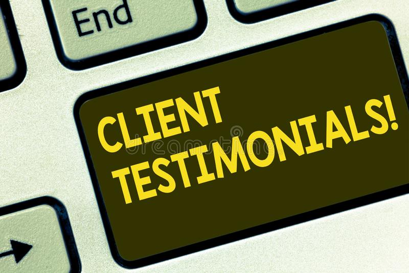 Text sign showing Client Testimonials. Conceptual photo Customer Personal Experiences Reviews Opinions Feedback Keyboard. Key Intention to create computer royalty free stock photo