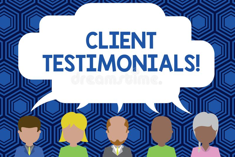 Text sign showing Client Testimonials. Conceptual photo Written Declaration Certifying demonstratings Character Value. Text sign showing Client Testimonials vector illustration