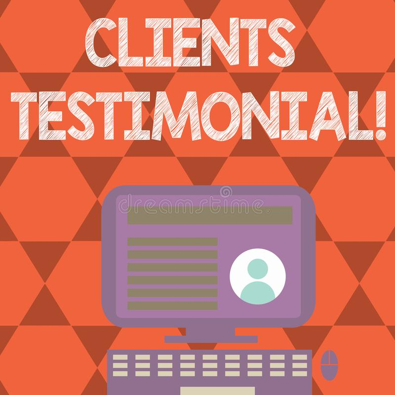 Text sign showing Clients Testimonial. Conceptual photo Customers Personal Experiences Reviews Opinions Feedback. Text sign showing Clients Testimonial vector illustration