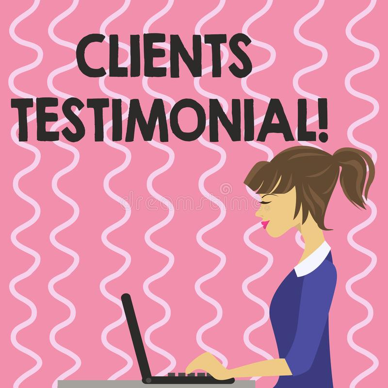 Text sign showing Clients Testimonial. Conceptual photo Customers Personal Experiences Reviews Opinions Feedback. Text sign showing Clients Testimonial royalty free illustration