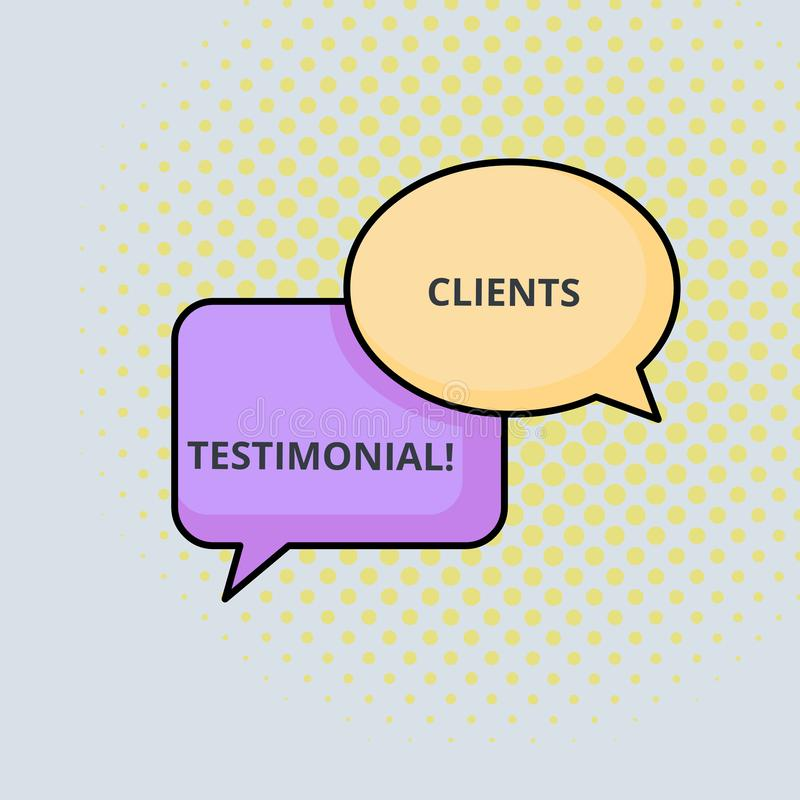 Text sign showing Clients Testimonial. Conceptual photo Formal Statement Testifying Candid Endorsement by Others Pair of. Text sign showing Clients Testimonial royalty free illustration