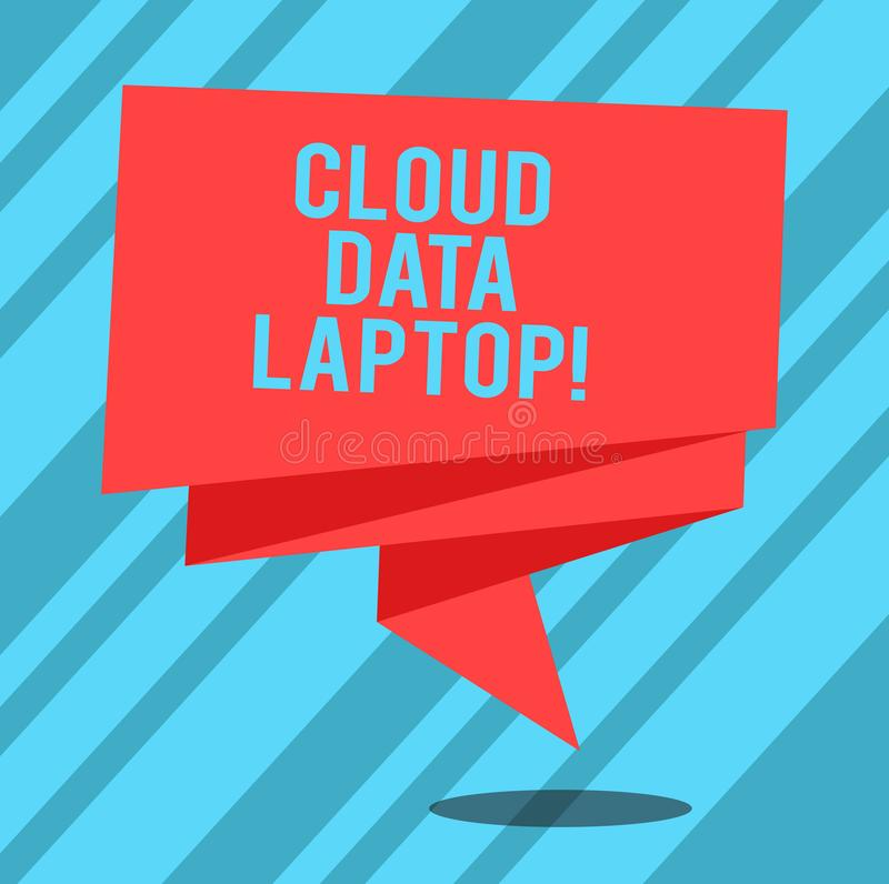 Text sign showing Cloud Data Laptop. Conceptual photo datacenter full of servers that is connected to Internet Folded 3D stock illustration
