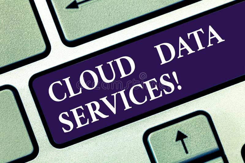 Text sign showing Cloud Data Services. Conceptual photo enables data access on deanalysisd users regardless location. Keyboard key Intention to create computer stock image