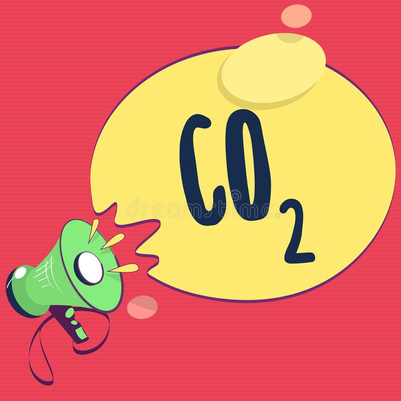 Text sign showing Co2. Conceptual photo Noncombustible greenhouse gas that contributes to global warming.  vector illustration