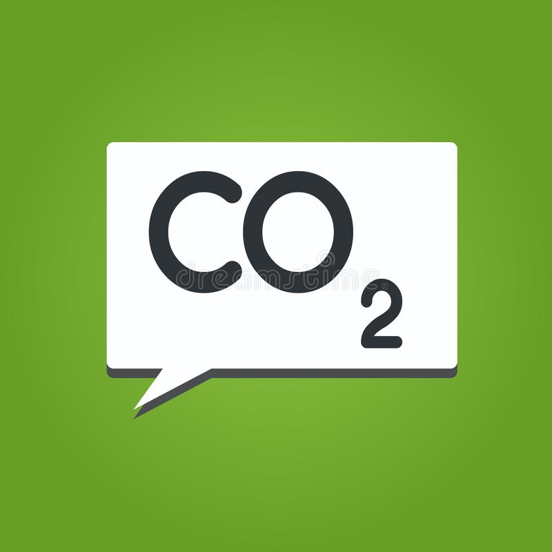 Text sign showing Co2. Conceptual photo Noncombustible greenhouse gas that contributes to global warming.  stock illustration
