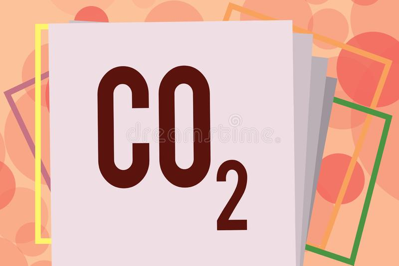 Text sign showing Co2. Conceptual photo Noncombustible greenhouse gas that contributes to global warming.  royalty free illustration