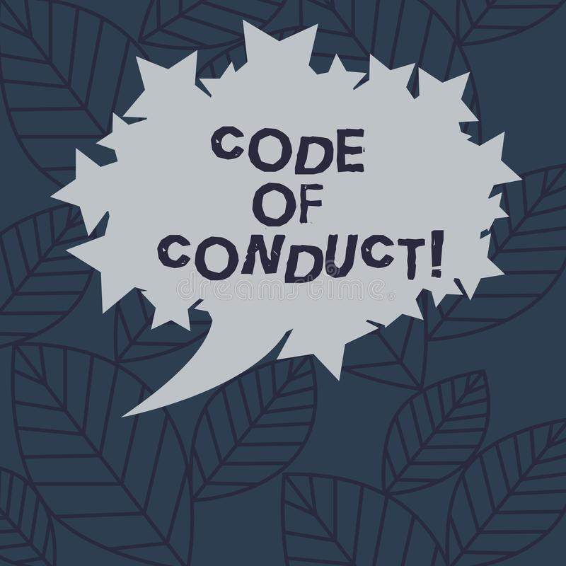 Text sign showing Code Of Conduct. Conceptual photo Ethics rules moral codes ethical principles values respect Blank. Oval Color Speech Bubble with Stars as royalty free illustration