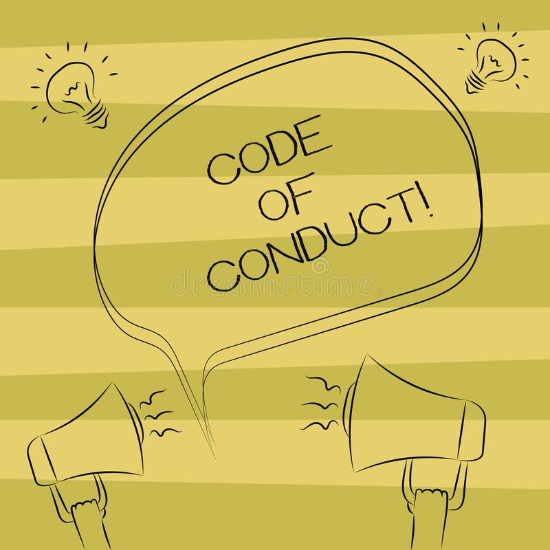 Text sign showing Code Of Conduct. Conceptual photo Ethics rules moral codes ethical principles values respect Freehand. Outline Sketch of Blank Speech Bubble vector illustration