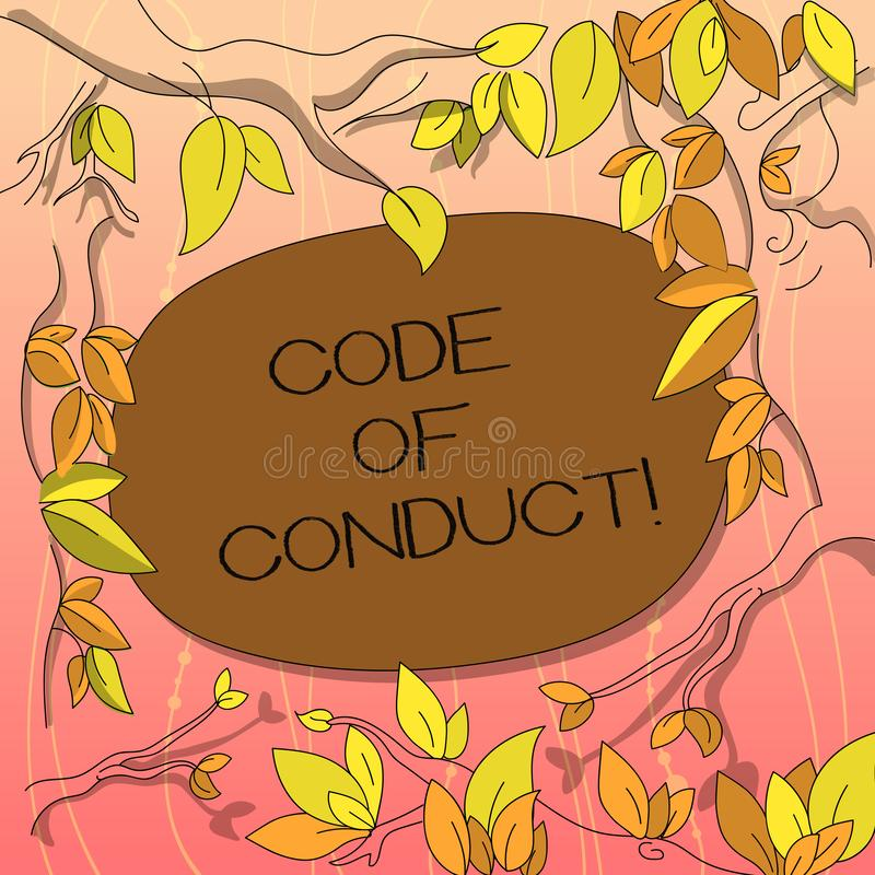 Text sign showing Code Of Conduct. Conceptual photo Ethics rules moral codes ethical principles values respect Tree. Branches Scattered with Leaves Surrounding royalty free illustration