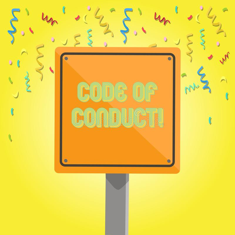 Text sign showing Code Of Conduct. Conceptual photo Follow principles and standards for business integrity 3D Square. Text sign showing Code Of Conduct. Business royalty free illustration
