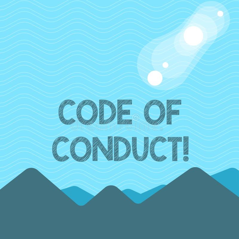 Text sign showing Code Of Conduct. Conceptual photo Follow principles and standards for business integrity View of. Text sign showing Code Of Conduct. Business vector illustration