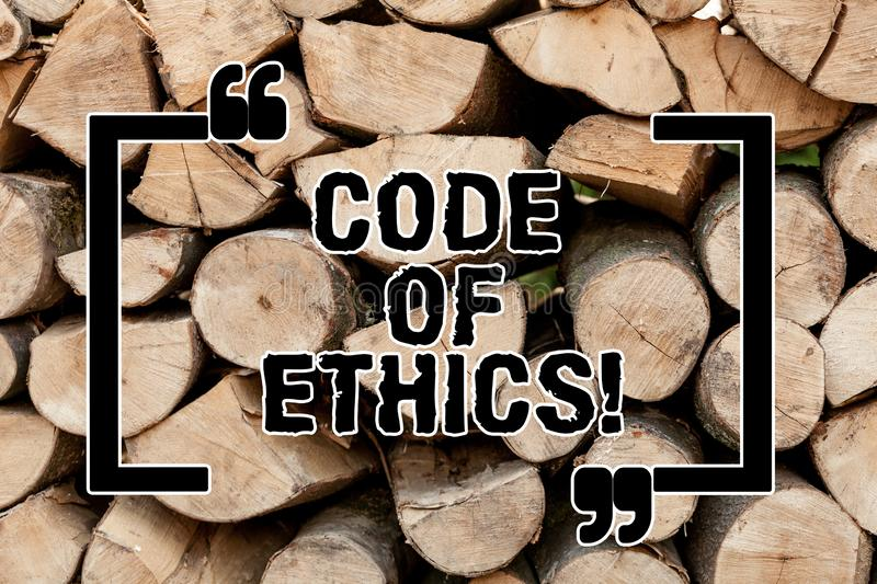 Text sign showing Code Of Ethics. Conceptual photo Moral Rules Ethical Integrity Honesty Good procedure Wooden. Background vintage wood wild message ideas stock images