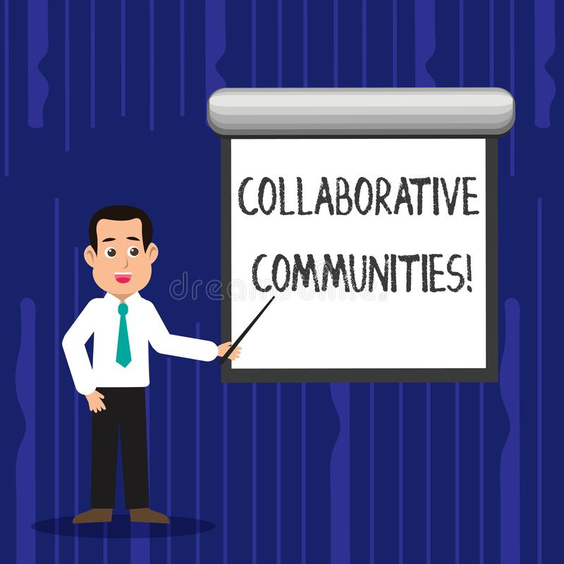 Text sign showing Collaborative Communities. Conceptual photo showing and organizations work achieve results Man in. Text sign showing Collaborative Communities royalty free illustration