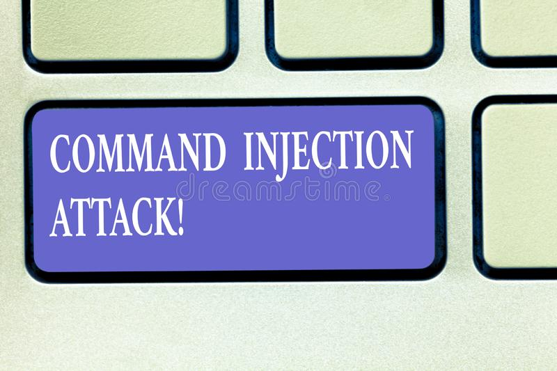 Text sign showing Comanalysisd Injection Attack. Conceptual photo execution of arbitrary comanalysisds on the host OS Keyboard key. Intention to create computer royalty free stock photography