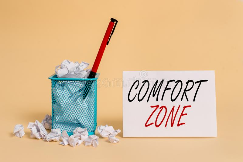 Text sign showing Comfort Zone. Conceptual photo A situation where one feels safe or at ease have Control crumpled paper. Text sign showing Comfort Zone royalty free stock image