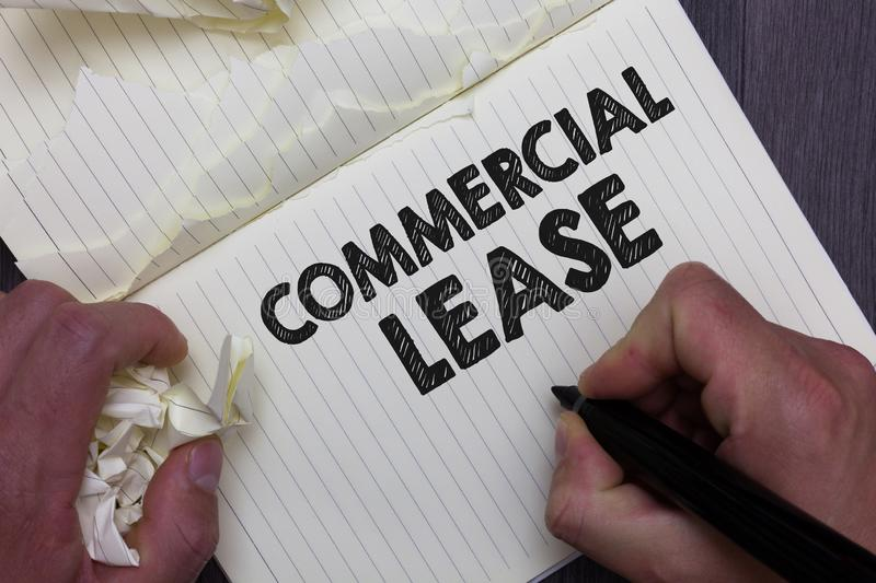 Text sign showing Commercial Lease. Conceptual photo refers to buildings or land intended to generate a profit Man holding marker stock image