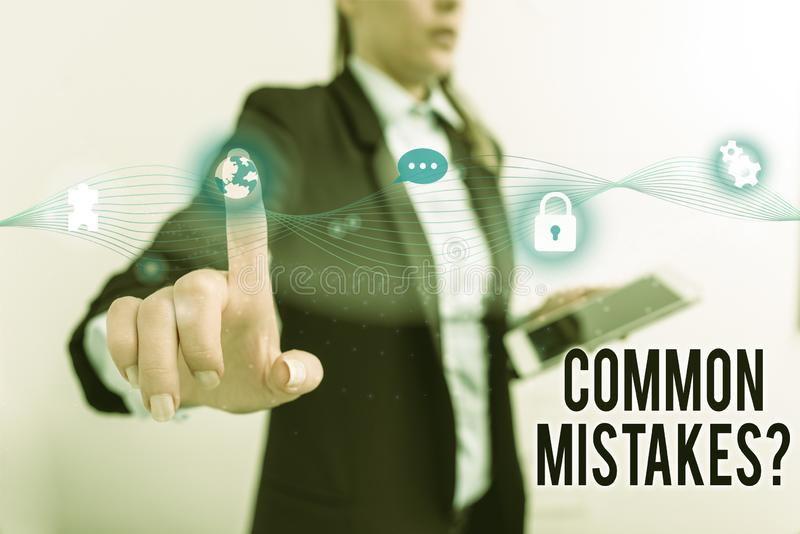 Text sign showing Common Mistakes Question. Conceptual photo repeat act or judgement misguided making something wrong. Text sign showing Common Mistakes Question royalty free stock image