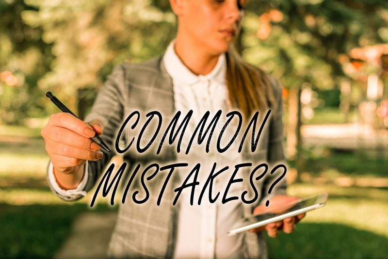 Text sign showing Common Mistakes Question. Conceptual photo repeat act or judgement misguided making something wrong. Text sign showing Common Mistakes Question royalty free stock photos