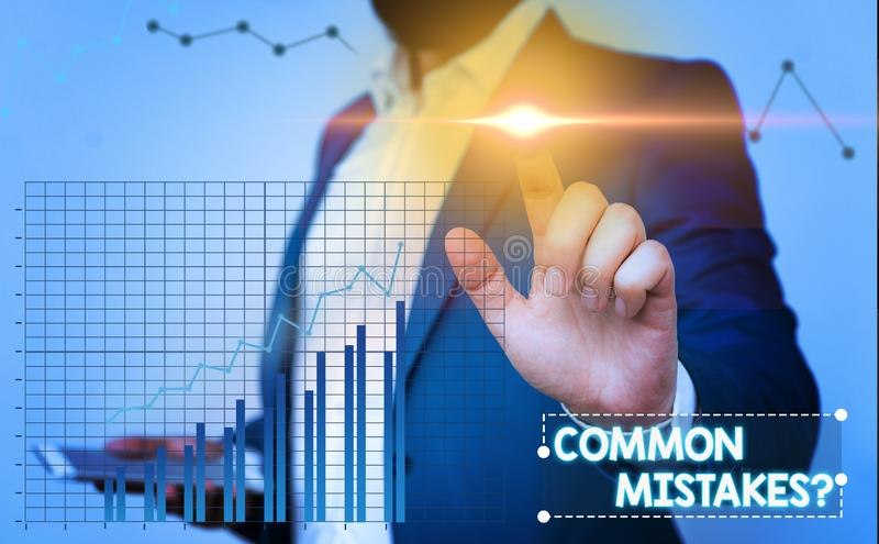 Text sign showing Common Mistakes question. Conceptual photo repeat act or judgement misguided or wrong. Text sign showing Common Mistakes question. Business royalty free stock image
