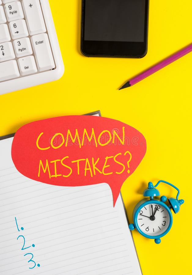 Text sign showing Common Mistakes question. Conceptual photo repeat act or judgement misguided or wrong Empty red bubble. Text sign showing Common Mistakes royalty free stock photography