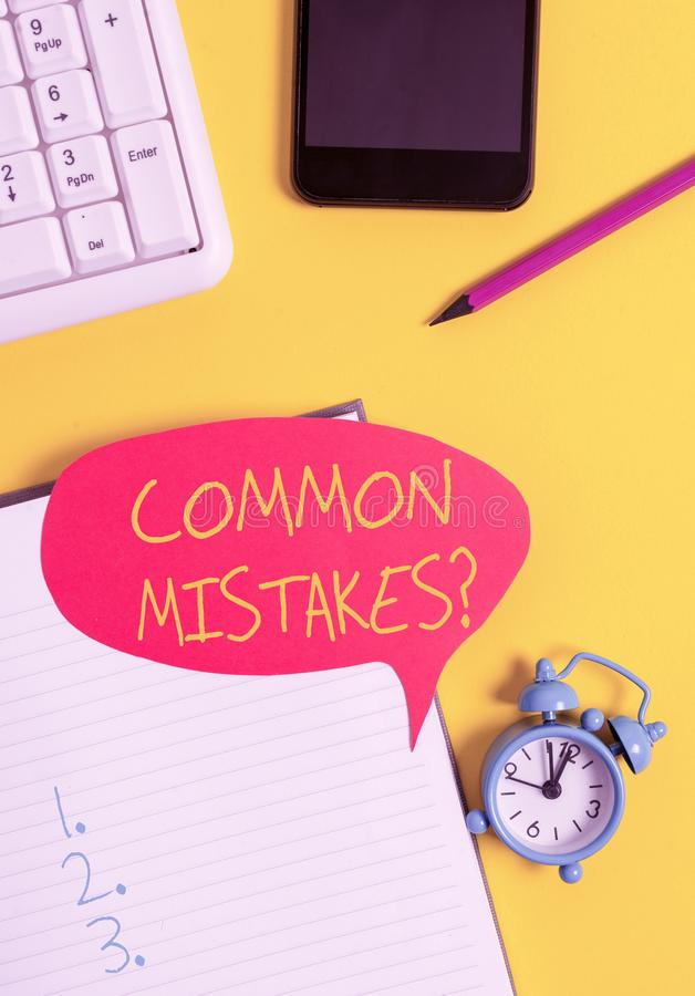 Text sign showing Common Mistakes question. Conceptual photo repeat act or judgement misguided or wrong Empty red bubble. Text sign showing Common Mistakes stock images