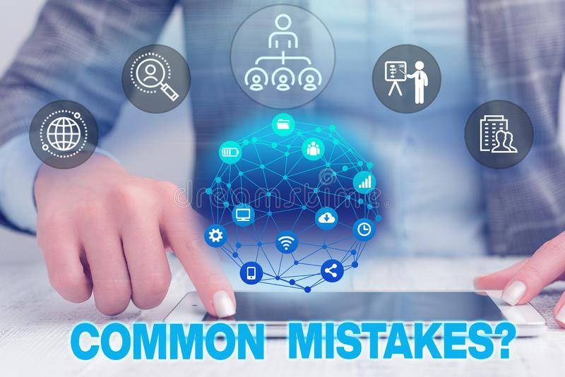 Text sign showing Common Mistakes question. Conceptual photo repeat act or judgement misguided or wrong Female human. Text sign showing Common Mistakes question royalty free stock image