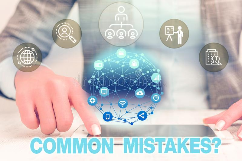 Text sign showing Common Mistakes question. Conceptual photo repeat act or judgement misguided or wrong Female human. Text sign showing Common Mistakes question stock photography