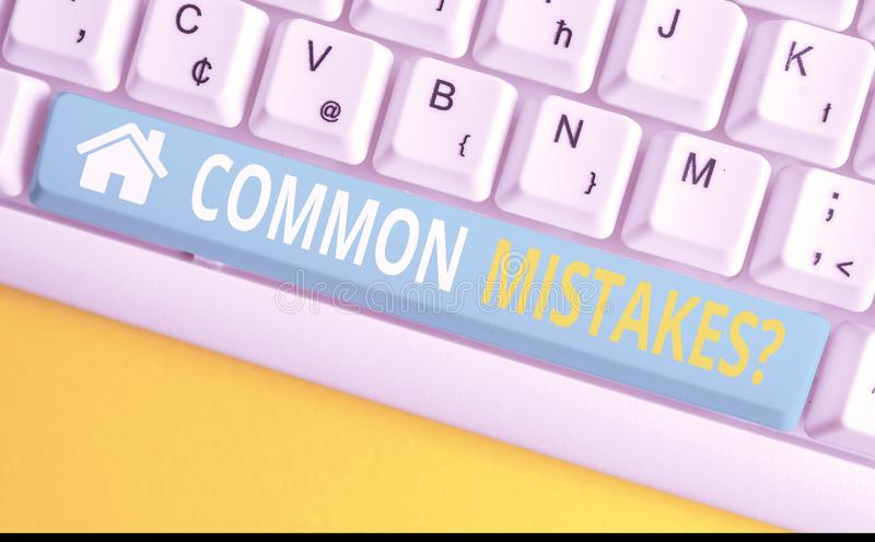 Text sign showing Common Mistakes question. Conceptual photo repeat act or judgement misguided or wrong White pc. Text sign showing Common Mistakes question stock photos