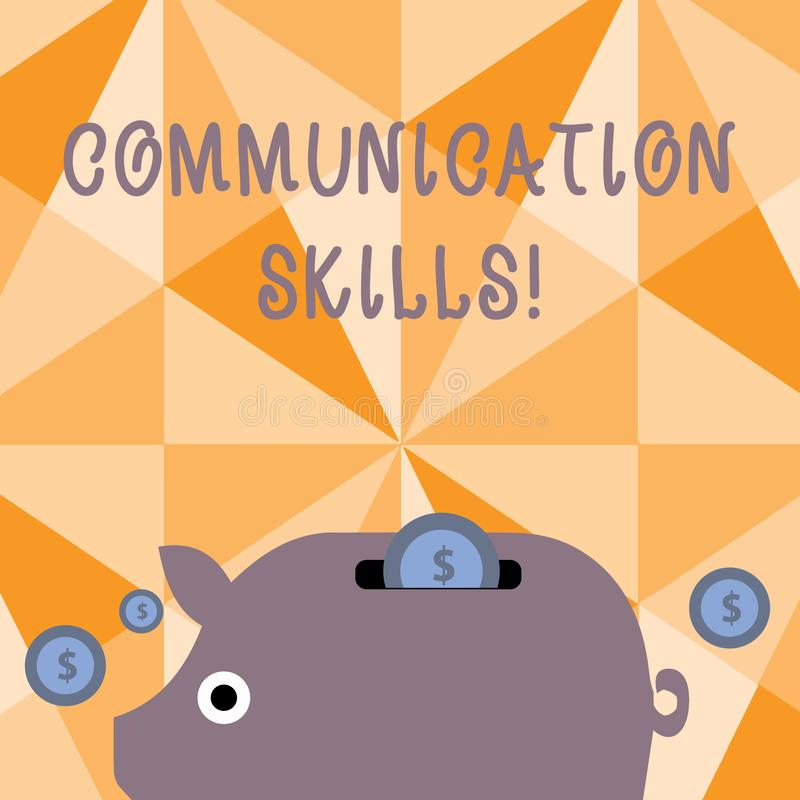 Text sign showing Communication Skills. Conceptual photo ability to convey information to another effectively Colorful. Text sign showing Communication Skills stock illustration