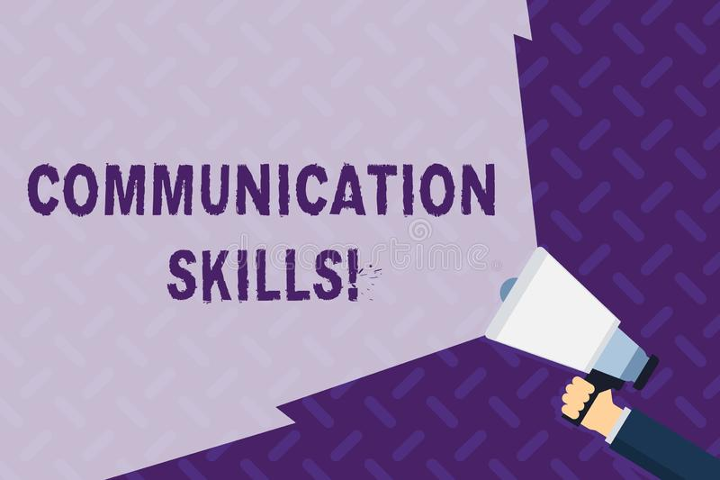 Text sign showing Communication Skills. Conceptual photo ability to convey information to another effectively Hand. Text sign showing Communication Skills royalty free illustration