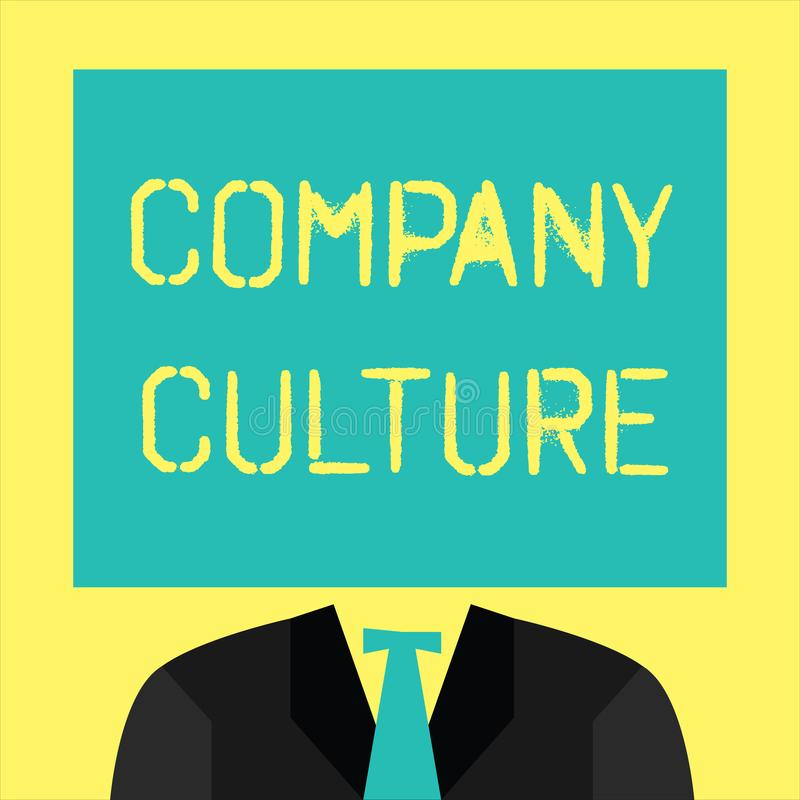 Text sign showing Company Culture. Conceptual photo The environment and elements in which employees work.  stock illustration