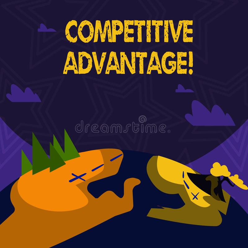 Text sign showing Competitive Advantage. Conceptual photo owning quality that will assure you leading in field. Text sign showing Competitive Advantage vector illustration