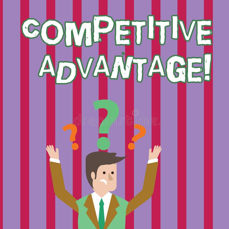 Text sign showing Competitive Advantage. Conceptual photo owning quality that will assure you leading in field. Text sign showing Competitive Advantage stock illustration