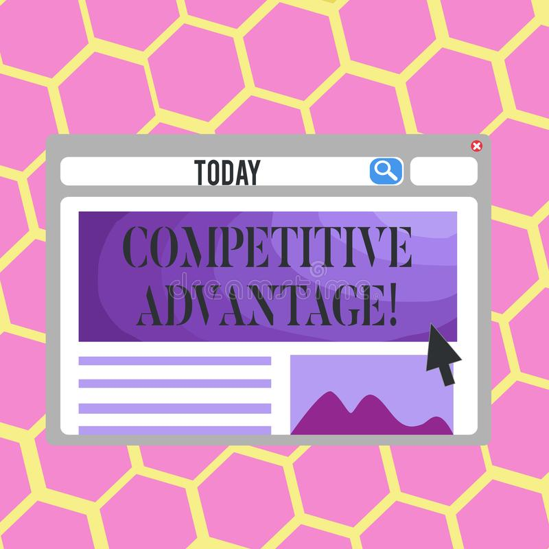 Text sign showing Competitive Advantage. Conceptual photo owning quality that will assure you leading in field. Text sign showing Competitive Advantage. Business royalty free illustration