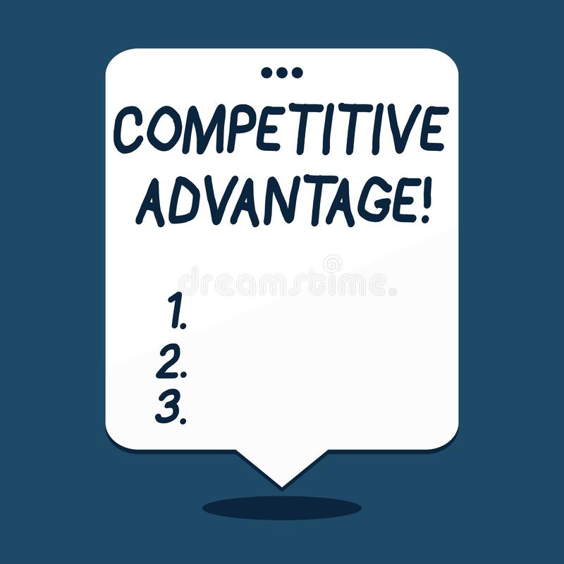 Text sign showing Competitive Advantage. Conceptual photo owning quality that will assure you leading in field. Text sign showing Competitive Advantage royalty free illustration