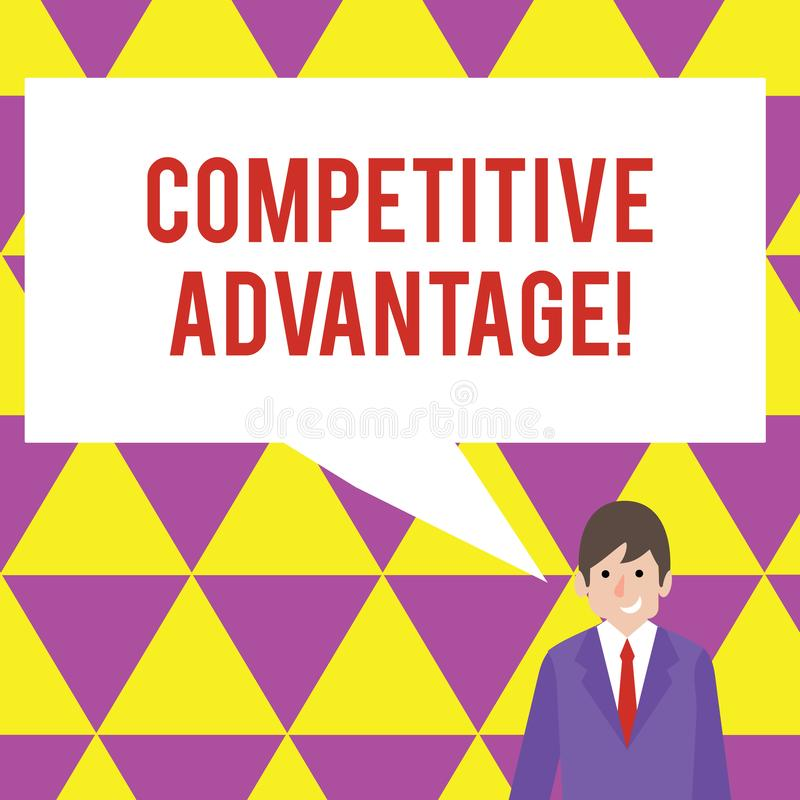 Text sign showing Competitive Advantage. Conceptual photo owning quality that will assure you leading in field. Text sign showing Competitive Advantage. Business stock illustration