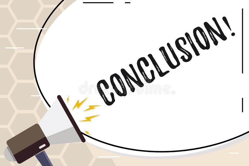 Text sign showing Conclusion. Conceptual photo Results analysis Final decision End of an event or process. Text sign showing Conclusion. Business photo text royalty free illustration