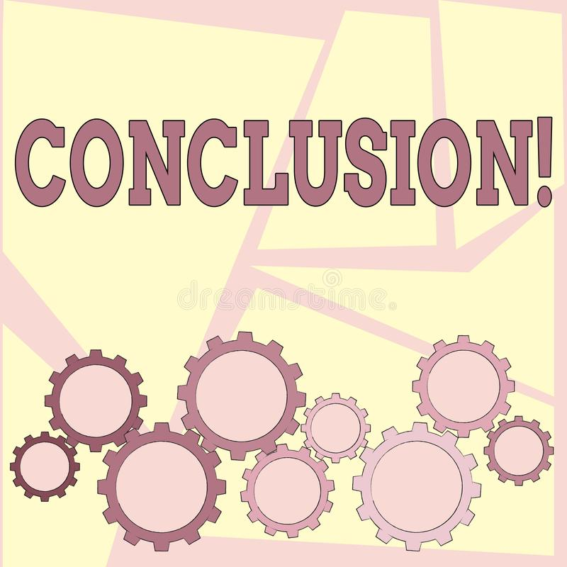 Text sign showing Conclusion. Conceptual photo Results analysis Final decision End of an event or process. Text sign showing Conclusion. Business photo vector illustration