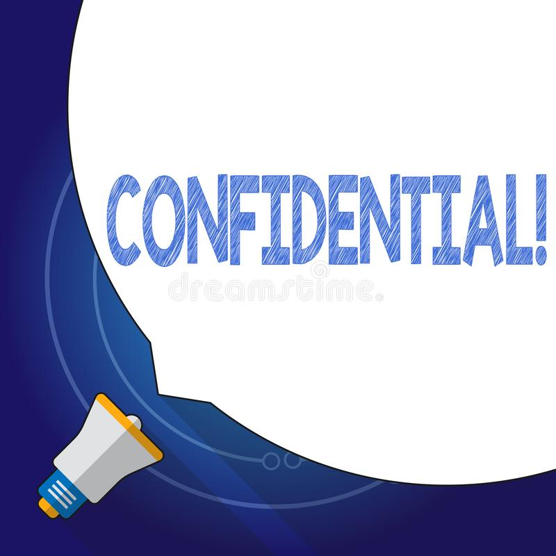 Text sign showing Confidential. Conceptual photo Agreements between two parties are private and protected. Text sign showing Confidential. Conceptual photo royalty free illustration