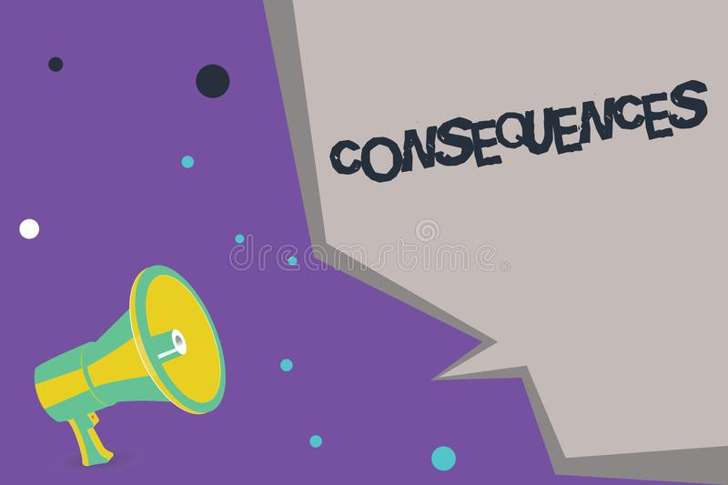 Text sign showing Consequences. Conceptual photo Effect result or outcome of something occurring earlier.  stock illustration