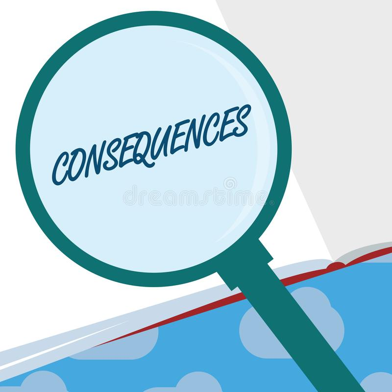 Text sign showing Consequences. Conceptual photo Effect result or outcome of something occurring earlier.  vector illustration