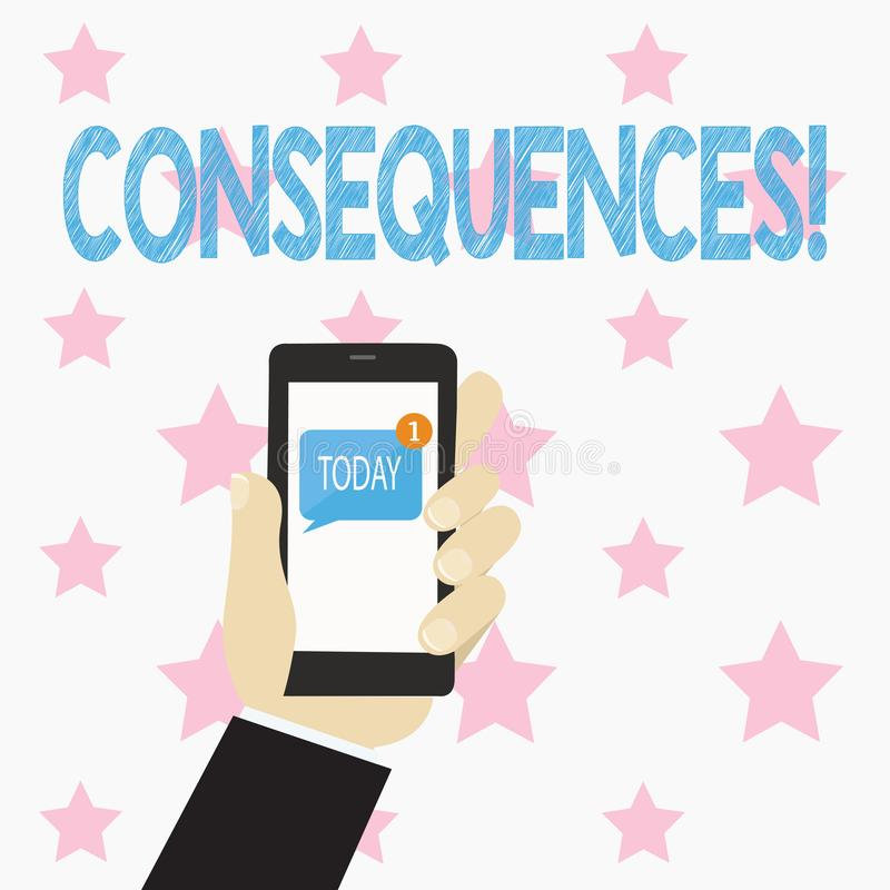 Text sign showing Consequences. Conceptual photo Result Outcome Output Upshot Difficulty Ramification Conclusion Human. Text sign showing Consequences. Business vector illustration